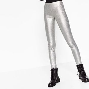 Zara Collection Metallic Silver Leggings